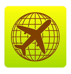 Globe and plane travel sign brown icon at vector