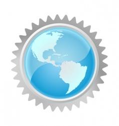 globe in gear vector image