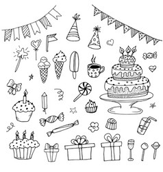 Hand drawn birthday doodles vector