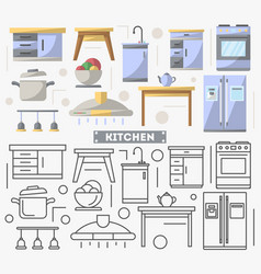 kitchen furniture set in flat style vector image vector image