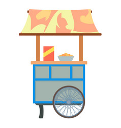 Mobile cart for sale food icon cartoon style vector
