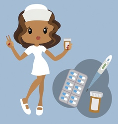 Nurse and medical tools vector image