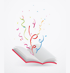 Open book with ribbon and confetti vector
