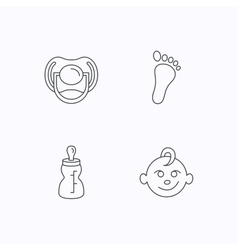 Pacifier baby boy and bottle icons vector image