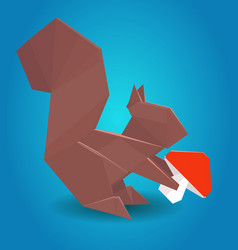 Paper origami squirrel vector