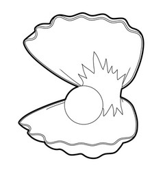 pearl shell icon outline vector image