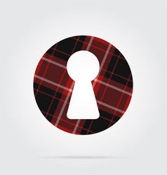 red black tartan isolated icon - keyhole vector image