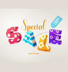 sale 3d sign colorful on white vector image vector image