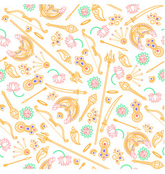 Seamless pattern goddess durga vector