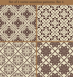 Set of 4 vintage seamless patternsSet 4 vector image