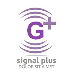 Signal letter g plus purple alphabet wireless vector
