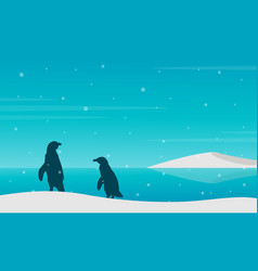 silhouette penguin on beach with snow vector image