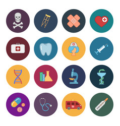 sixteen flat medicine icons vector image vector image
