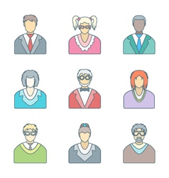 Various color outline people in glasses icons set vector