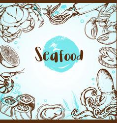 Vintage seafood menu vector