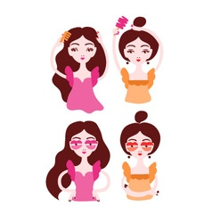 Women doing their hair brushing hair Girls wearing vector image vector image