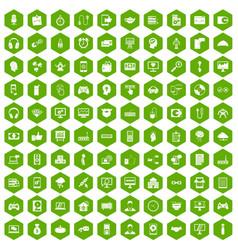 100 programmer icons hexagon green vector