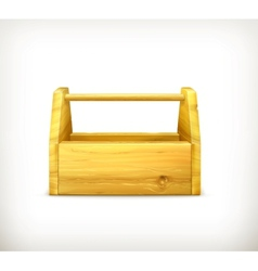 Empty wooden toolbox vector image