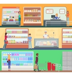 People shopping in a supermarket concept set vector