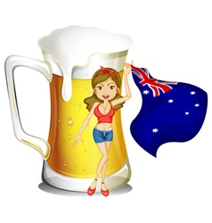 A girl with the flag of Australia in front of the vector image