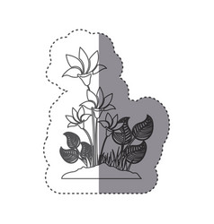 Sticker silhouette flowers with leaves in ground vector