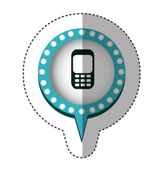 sticker with cell phone in circular speech with vector image