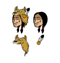 indian and wolf head cover vector image