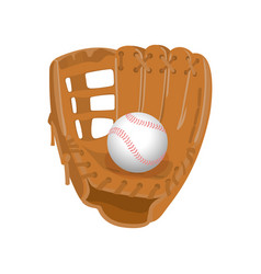 Leather glove white leather ball in realistic vector
