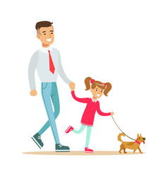 Father with his daughter walking with their small vector