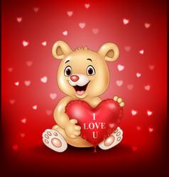 Cartoon bear holding red heart balloons vector