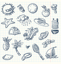 Summer icon set sketch style vector
