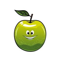 Healthy fresh green cartoon apple vector image