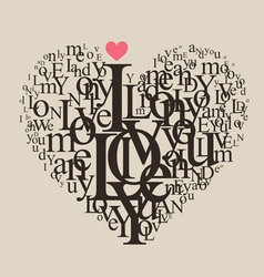 typography heart vector image