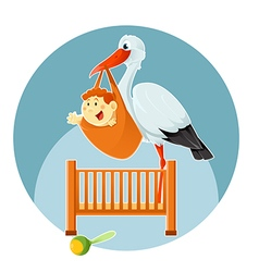 Stork and baby vector