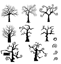Gothic trees set vector