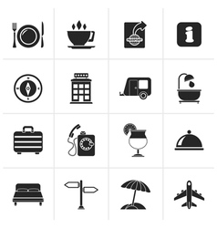 Black traveling and vacation icons vector