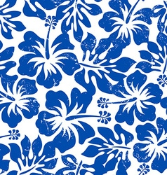 Tropical weathered blue hibiscus seamless pattern vector