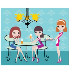 friends in cafe vector image