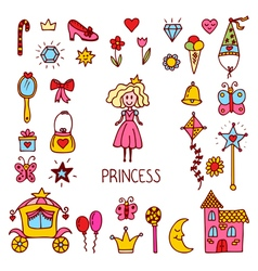 Little princess design elements cute hand drawn vector