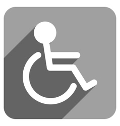 Handicapped flat square icon with long shadow vector