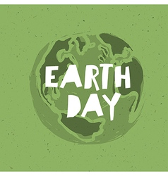 Happy earth day poster symbolic earth on the green vector