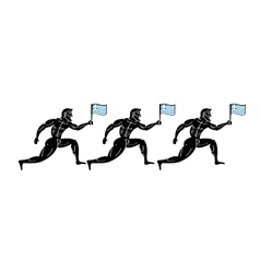 Ancient greek athletic runners with national flag vector