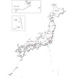 Japan Black White Map Royalty Free Vector Image - Japan map black and white