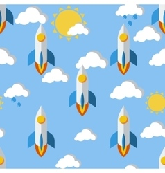 Bright seamless pattern with rockets clouds and vector