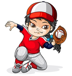 A female asian baseball player vector