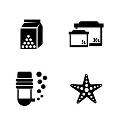 aquarium simple related icons vector image vector image