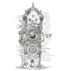 astronomical clock in prague vector image