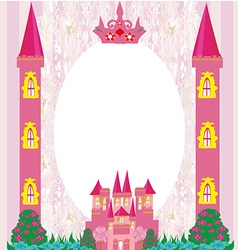 beautiful fairytale pink castle frame vector image