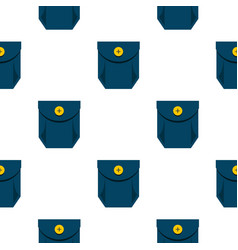 Blue jeans pocket with yellow button pattern flat vector