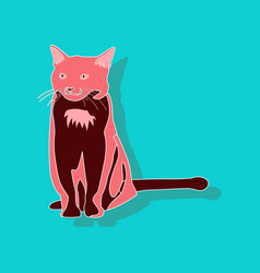 cat paper sticker on stylish background vector image vector image